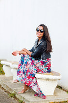 bubble gum maxi skirt LA hearts skirt - black faux leather gypsy warrior jacket