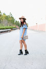 Black-patent-leather-forever-21-boots-light-blue-forever-21-dress