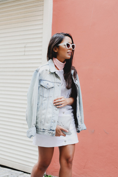 light blue denim Gap jacket - white denim Forever 21 skirt