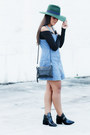 Black-forever-21-boots-light-blue-denim-jumper-bullhead-dress