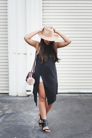 crimson Zara bag - tan wide brim Forever 21 hat - black Zara top