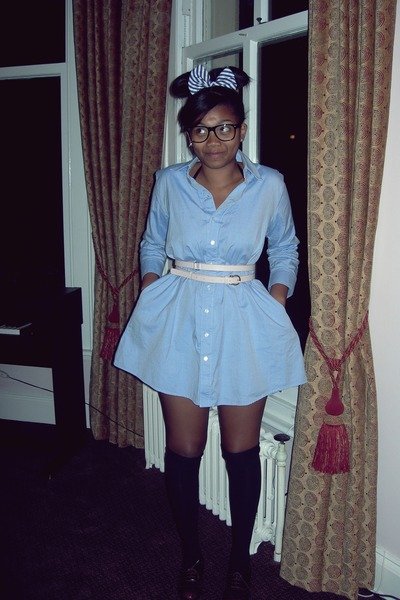 black new look socks - blue American Apparel dress - pink Primark belt