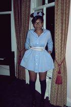 black new look socks - blue American Apparel dress - pink Primark belt
