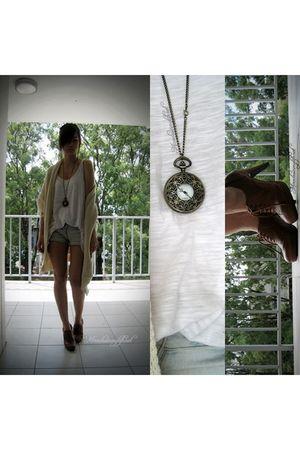 beige vintage cardigan - white Valley Girl shirt - brown boots - blue DIY shorts