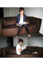 black sass & bide leggings - white t-shirt - blue blazer
