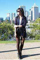 black Levis shorts - black Target Australia tights - black vintage belt - blue b