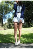 blue cardigan - blue dress - brown belt - beige shoes