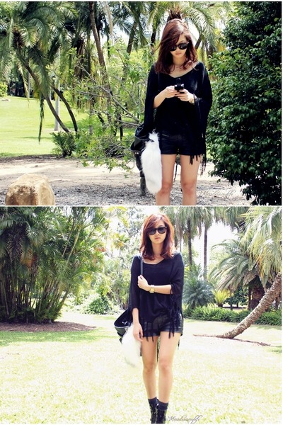 black Knitted poncho top - black leather shorts - white Fox tail accessories - b