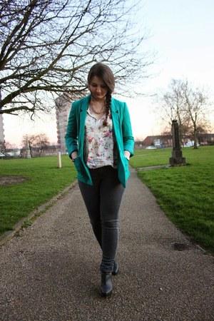 Promod blouse - Mango boots - Mango jeans - H&M jacket