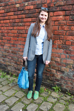 navy H&M jeans - aquamarine Harryson shoes - heather gray Stradivarius blazer