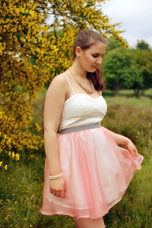 pink organza my design skirt - white H&M dress - tan Dorothy Perkins necklace