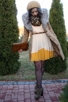 camel New Yorker coat - brown deezee shoes - light yellow Topshop dress