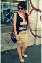 black Bershka top - black Bershka bag - gold Stradivarius skirt