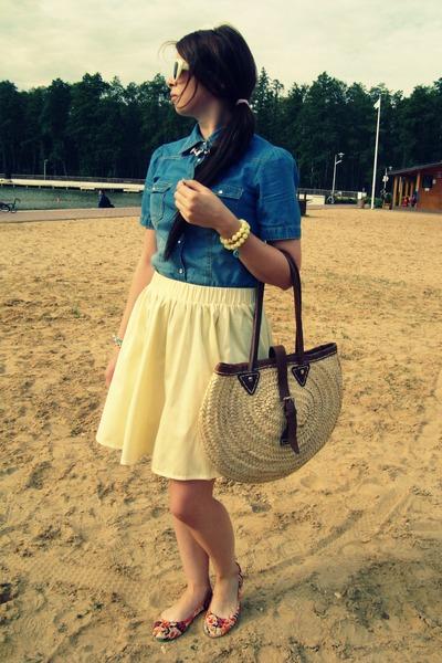 asos skirt - Dorothy Perkins shirt - no brand bag - new look flats