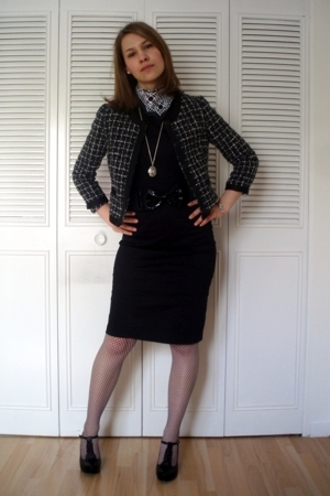 black tweed H&M jacket - black Newlook shoes - black H&M dress