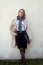 Camaeu scarf - Zara coat - H&M top - new look skirt - new look belt - Lancel wal
