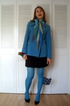 blue Tex coat - blue on my neck vintage scarf - blue on my wrist vintage scarf