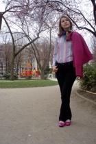 La Redoute jacket - vintage scarf - Coton Doux shirt - new look jeans - Repetto