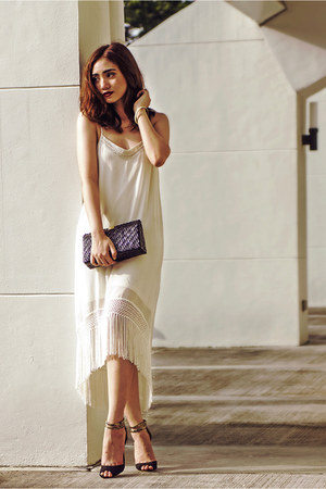 ivory fringed TFNC LONDON dress - black ankle strap Primadonna shoes