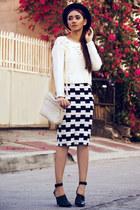 navy checkered OASAP skirt - black ankle strap Zara boots