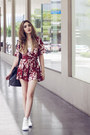 Ruby-red-floral-loose-light-in-the-box-romper-white-vans-sneakers