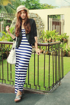 black random blazer - navy maxi striped New Yorker dress