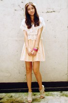 peach Topshop dress - off white top - ivory figliarina shoes