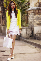yellow wool WOAKAO blazer - white laser cutout tbdresses dress