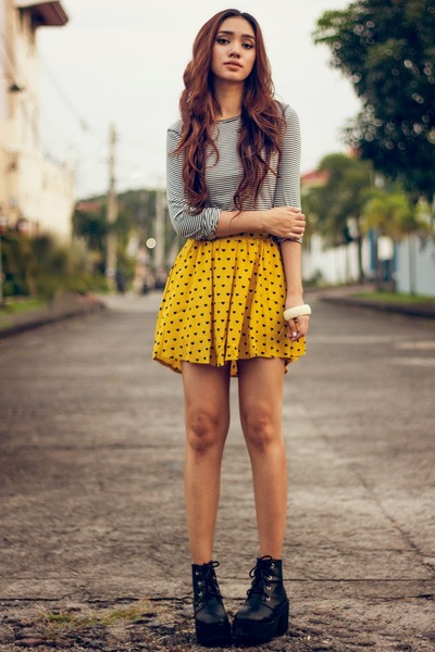 mustard printed Woakaocom skirt