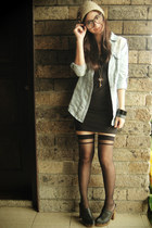 light blue denim top - black bodycon H&M dress