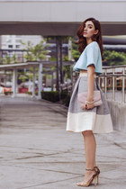 silver midi Isumi Melania - ASTO GROUP skirt - light blue cropped Choies top