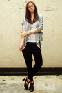 Silver-blazer-heather-gray-top-black-pants-dark-brown-shoes