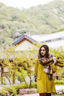 Beige-tartan-zara-scarf-brown-boots-mustard-shirt-dress-h-m-dress