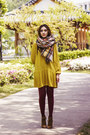Beige-tartan-zara-scarf-brown-boots-mustard-shirt-dress-h-m-dress
