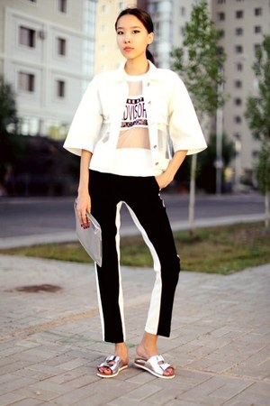 white Sheinside sweatshirt - white Front Row Shop jacket - silver Zara bag