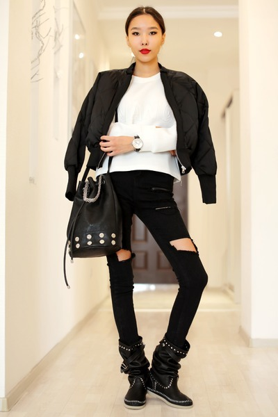 black Sheinside jeans - black LArtigiano di Riccione boots
