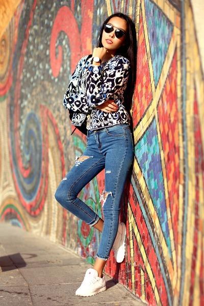 violet Sheinside jeans - blue Sheinside jacket - black chicnova bag