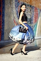 blue Chicwish skirt - black Choies bag