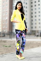 blue Patrizia Pepe pants - yellow Spring shoes - black Zara top - blue Aldo ring