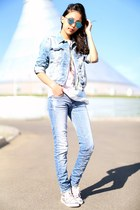 light blue Zara jacket - light blue pull&bear jeans - white Zara t-shirt