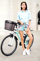 light blue chicnova blouse - aquamarine Zara shorts - bubble gum triwa watch