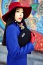 Blue-sheinside-coat-black-revolve-bag
