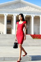 red Jimmy Choo shoes - red Celebindress dress - ruby red Daniel Wellington watch