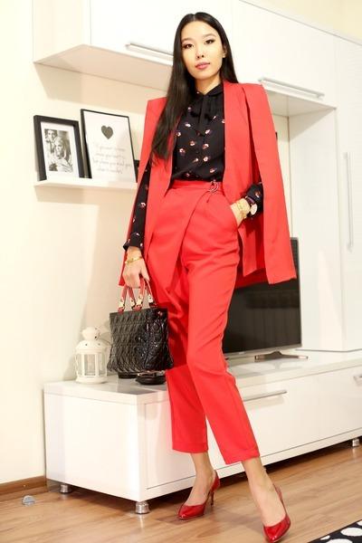 red asos blazer - red asos pants - black asos blouse