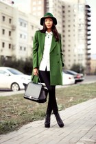 black Jeffrey Campbell boots - green Zara coat - green Park Bravo hat
