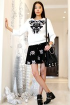 white Choies sweatshirt - black Chicwish skirt