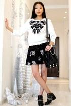 white Choies sweatshirt - black Chicwish skirt