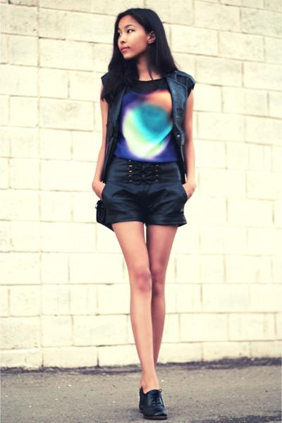 turquoise blue Zara shirt - black Miss Sixty jacket