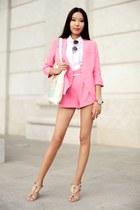 bubble gum Chicwish suit - beige Inkess bag - bubble gum Chicwish sunglasses