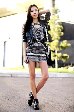 black Zara boots - gray Celebindress dress